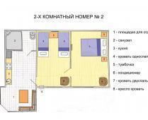 2-комнатный номер с кухней с отдельным входом - фотография № 1